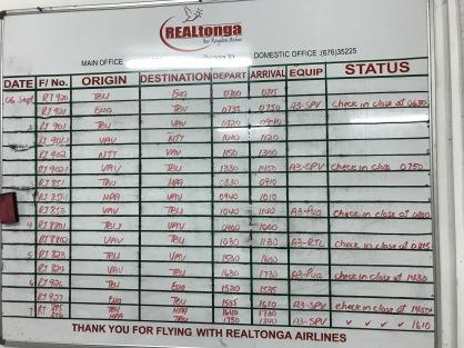 The departure notice board...